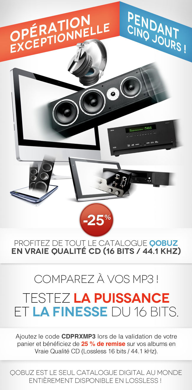 Réduction exceptionnelle de 25% sur l'ensemble du catalogue en qualité CD