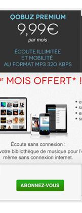 Abonnement Qobuz Premium avec le 1er mois offert