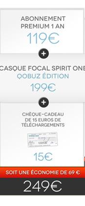 Abonnement Premium intégral 1 an + Casque Focal Spirit One Qobuz Edition + Chèque-cadeau de 15€ de téléchargements = 249€ - soit une économie de 69€ !