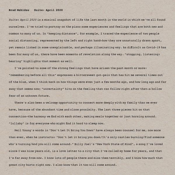 Brad Mehldau - Suite: April 2020