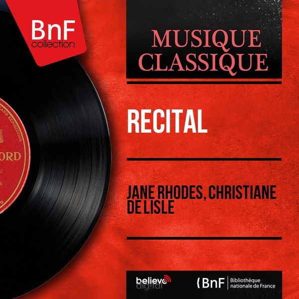 Jane Rhodes - Récital (Arranged for Solo Voice and Organ, Mono Version)