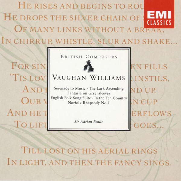 Sir Adrian Boult - Vaughan Williams : Serenade to Music, The Lark Ascending, Fantasia on Greensleeves, etc