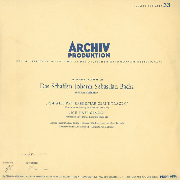 """Dietrich Fischer-Dieskau - Bach, J.S.: Cantatas """"Ich will den Kreuzstab gerne tragen"""", BWV 56; """"Ich habe genug"""", BWV 82"""