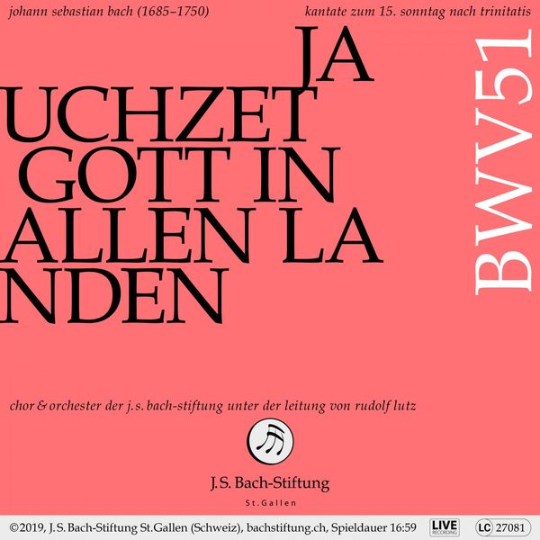 Orchester der J.S. Bach-Stiftung - Bachkantate, BWV 51: Jauchzet Gott in allen Landen (Live)