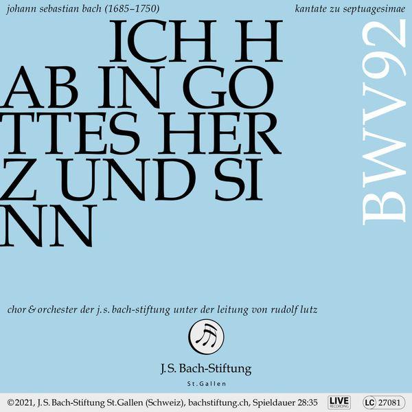 Rudolf Lutz - Bachkantate, BWV 92 - Ich hab in Gottes Herz und Sinn (Live)