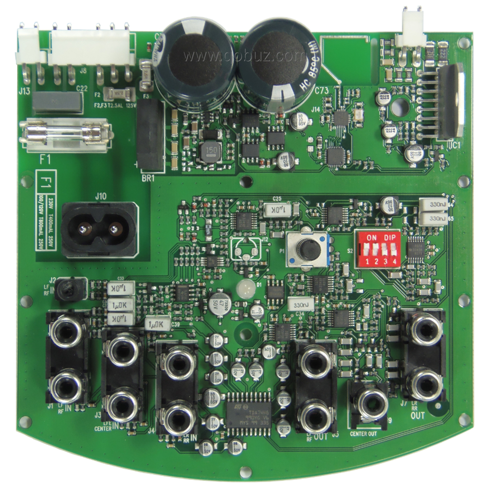 Genelec G One Speakers And F Subwoofer An Amplified 21 Circuits Online Artikelen Visual Basic En De Printerpoort At The Bottom On Circuit There Is Electronic Control With Six Lanes Stmicroelectronics Tda7448 Other Elements Which Can Be Found In